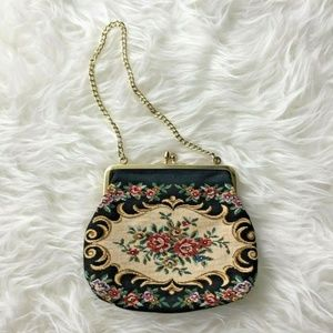 Tapestry Purse Petit Point Chain Evening Bag 1960